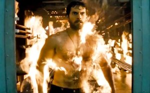 Man of Steel on fire