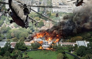 White House Down on fire